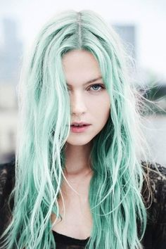 light green blue hair