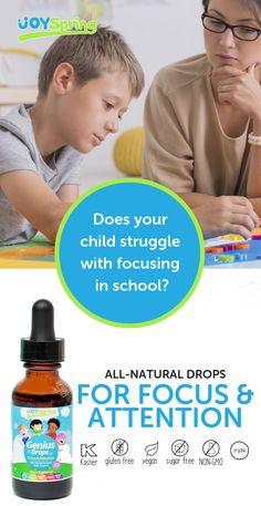 Genius Drops Focus Vitamins for Kids – diet Nutrition Program, Diet And Nutrition, Nutrition Products, Health Diet, Nutrition Guide, Vitamins For Kids, Organic Vitamins, Kids Labels, Adhd Kids