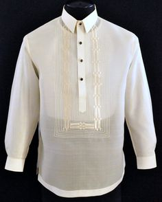 Jusi Barong Tagalog Whether you want to dress like a groom or a guest, this distinguished embroidery fits the bill for both. Barong Tagalog Wedding, Barong Wedding, Filipiniana Dress, Filipino Fashion, Philippines Fashion, First Communion Dresses, Wedding Shirts, Dress Shoes, Dress Pants