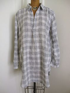 "NWT CP SHADES BLK / WHT PLAID LINEN ""TETON"" TUNIC DRESS Sz> LARGE #CPSHADES #Tunic #Any"