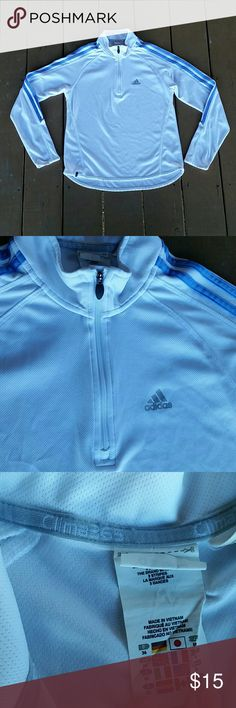 Adidas Climalite pullover quick dry active shirt White with blue lines lightweight active wear pullover shirt.  Zip neck Excellent used condition 100% polyester Size small Adidas Tops