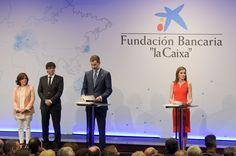 (L-R) Soraya Saenz de Santamaria, Carles Puigdemont, King Felipe VI of Spain and Queen Letizia of Spain attend the 'La Caixa' Scholarships held at the headquarters for La Caixa on May 23, 2017 in Barcelona, Spain.