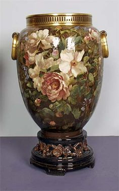 Minton Earthenware Vase, with painted rose decoration Date: 1870 - 1900 (c.)  (the Minton archive is under threat) see www.artfund.org/...