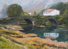 Puente del Pilar en Ribadesella (II) Painting, Art, Living Alone, Scenery, Bridges, Exhibitions, Art Background, Painting Art, Kunst