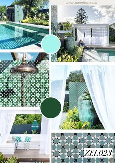 Our talented client Emily Taubert's backyard paradise features our tiles around and in her pool area. We're green with envy. Backyard Paradise, Moroccan Tiles, Oasis, Envy, New Homes, Gallery, Interior, Outdoor Decor, Green