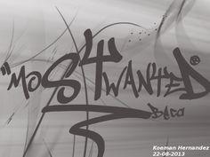 """""""MostWanted"""". En esta imagen se utilizaron los pinceles GraffitiTags; Beam; Greenlotus. Fuente URW Gothic L semi-bold oblique. Medidas 1024x768 pixeles. Orientación Horizontal."""