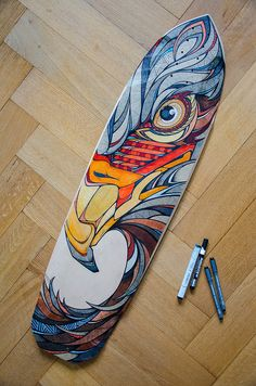 Painted Skateboard, Skateboard Deck Art, Skateboard Design, Surfboard Painting, Surfboard Art, Eagle Painting, Longboard Design, Ultimate Frisbee, Skate Decks