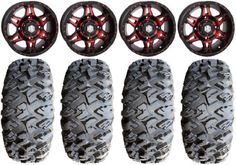 STI HD7 14' Wheels Red/Black 27' MotoClaw Tires Can-Am Commander Maverick Renegade Outlander Defender