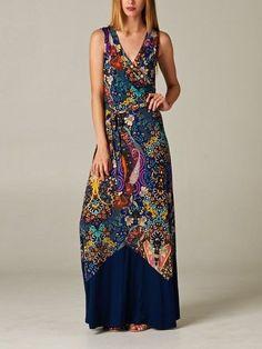 Boho Blue Flower Maxi Dress
