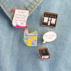5PCS Brooch Letters Book Badge Lapel Pin