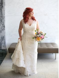 Moonlight Bridal Real Bride Jackie in our vintage-inspired lace wedding dress with flattering layers.