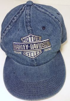 Harley Davidson Motorcycles Mens Denim Jean Adjustable Hat #HarleyDavidson #BaseballCap