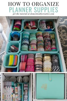 Are your planning supplies taking over your house? Check out these fun ways to organize planner supplies like washi tape, planners, stickers, and even small office supplies. #domesticallycreative #organization #plannerorganization #plannersupplies #officeorganization