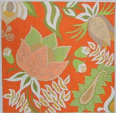 Machelle Somerville Flower Needlepoint - Orange Passion