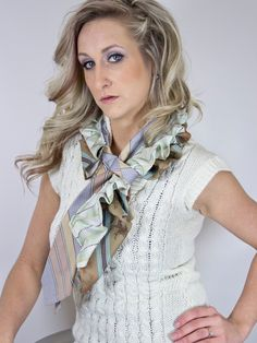 Glamarita Necktie Scarf READY TO SHIP in Neutral Stripes. $25,00, via Etsy.