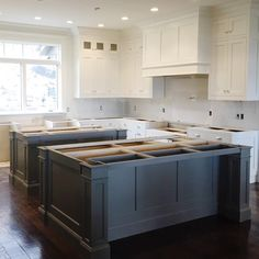 """WEBSTA @ studiomcgee - Double islands happening at our 👯 {cabinets are Benjamin Moore """"Swiss Coffee"""" and """"Chelsea Gray""""} Kitchen Redo, Kitchen Layout, New Kitchen, Kitchen Remodel, Kitchen Design, Kitchen Cabinets, Kitchen Ideas, Coffee Cabinet, Double Island Kitchen"""