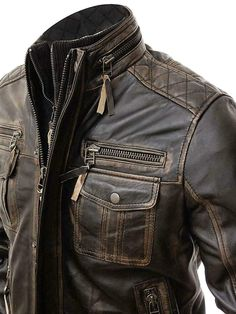 MENS MOTORCYCLE SPLIT COWHIDE LEATHER JACKET w// LARGE DUAL CONCEAL POCKETS DC93