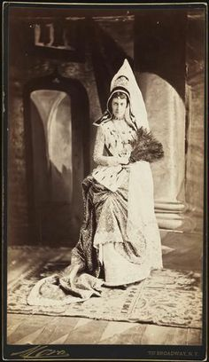 Miss Edith Fish, costumed for the Vanderbilt Ball during the Gilded Age in NYC c.1883.