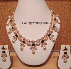 South Sea Pearls Necklace latest jewelry designs - Page 6 of 39 - Indian Jewellery Designs Indian Jewellery Design, Latest Jewellery, Indian Jewelry, Jewelry Design, Pearl Necklace Designs, Gold Pearl Necklace, Gold Earrings, Bridal Jewelry, Beaded Jewelry