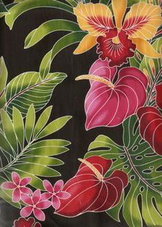 10eueu Tropical Hawaiian plumeria,anthurium  flowrers, apparel cotton Hawaiian vintage style fabric.