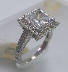 Ladies Vintage 18kt white gold engagement ring 050 by EVSdesign