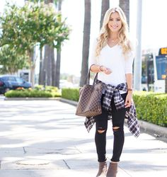 Fall basics outfit {plaid, black ripped jeans, and grey booties}- A Touch of Pink Blog