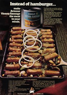 This borderline-NSFW ad for canned Vienna sausage: | 21 Truly Upsetting Vintage Food Advertisements