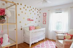 white, gold, use more coral and mint. Gold decals, crib sheet, gold touches