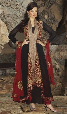 Diva style black  red designer georgette Anarkali with a long jacket style three piece Anarkali heavily embellished with resham,zari embroidery work done with a patti border looks just amazing in a new look.