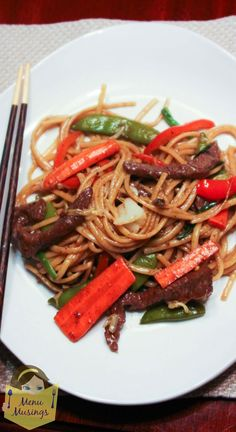 Easy Beef Lo Mein - this quick and easy take-out favorite can be on your family table after work.  Step-by-step photos.  <3