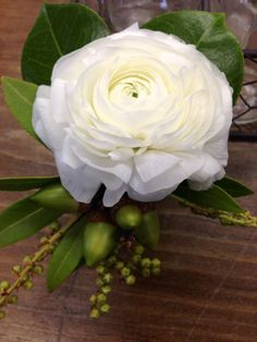 White Ranunculus Boutonnière With Acorns Rustic White Wedding