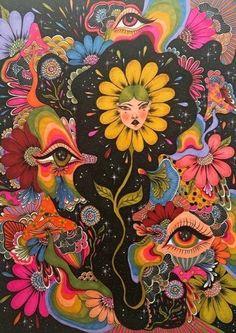 Hippie Painting, Trippy Painting, Hippie Drawing, Arte Indie, Indie Art, Psychadelic Art, Psychedelic Drawings, Hippie Wallpaper, Trippy Wallpaper