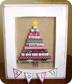Rolled Paper Tree...like this....but what about using old Christmas cards from friends and family
