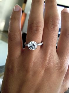 Thin Pave Band Round Cut Diamond Engagement Ring