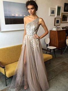 2018 A-line Prom Dresses Gray Scoop Floor-length Tulle Prom Dress Evening Dresses AMY372