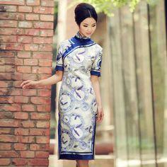 cheongsam dress pattern: Blue and white pattern, vintage & short - buy cheongsam dress - Elegente.com