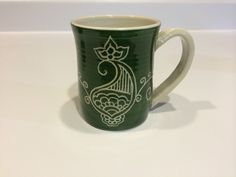 Carved Green Porcelain Paisley Mug by PaulaFocazioArt on Etsy