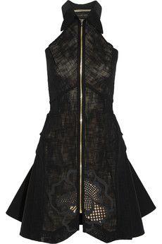 Roland Mouret Ammer open-weave cotton-blend mini dress   NET-A-PORTER