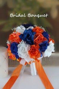Bridal Bouquet Royal Blue White Orange Wedding Bridal Silk Rose Baby Breath | eBay