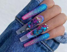 Disney Acrylic Nails, Bling Acrylic Nails, Drip Nails, Best Acrylic Nails, Cute Nails, Pretty Nails, Cute Acrylic Nail Designs, Nail Designs Bling, Exotic Nails