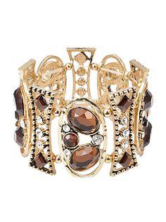 Gold Vintage Hollow Out Rhinestone Bracelet