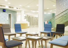 Upholstered in different colors, Laia chairs and coffee tables in the Evian SPA