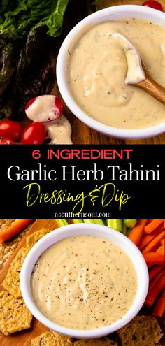Easy to make with just 6 ingredients, this Garlic Herb Tahini recipe is a homemade dressing and dip all in one! It's creamy, and rich with a fresh burst of lemony flavor and fresh herbs. It's great on salads, sandwiches, burgers, as a sauce for fries, and is perfect to serve as a dip. Yummy Appetizers, Yummy Snacks, Appetizer Recipes, Snack Recipes, Yummy Food, Sandwich Recipes, Dip Recipes, Easy Recipes, Healthy Dips