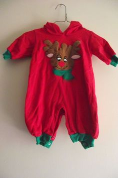 Funstuff Size 9 Month Unisex Red Green Christmas Reindeer One Piece With Antlers Merry Christmas 2017, Green Christmas, Christmas Items, All Things Christmas, 9th Month, Baby & Toddler Clothing, Red Green, Reindeer, Cool Style