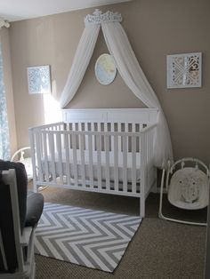 Girls Travel Theme Nursery Blue White and Gray