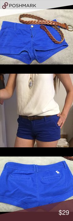 Abercrombie and Fitch royal blue shorts Super comfortable, great for summer royal blue Abercrombie and Fitch shorts. In great condition, just out grew them. Add a belt and button up for a preppy look. Abercrombie & Fitch Shorts Skorts