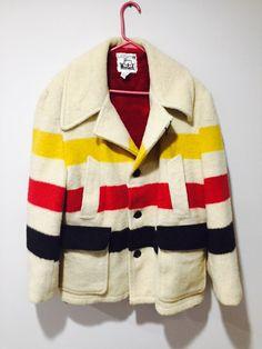 Vintage Mens size 44 Woolrich Blanket Pea Coat 9b123c720a71