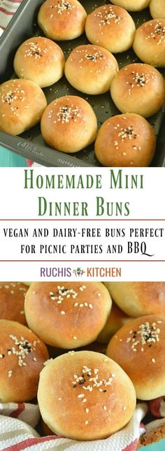 Deliciously soft and fluffy Mini Buns topped with sesame seeds and nigella seeds. Perfect for picnic parties and BBQ. A must try recipe! A recipe! Vegan Buns Recipe, Bun Recipe, Delicious Vegan Recipes, Barbacoa, Vegan Hamburger Buns, Mini Burger Buns, Sin Gluten, Meat Bun, Homemade Buns