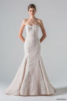 anne barge couture bridal spring 2016 luxembourg strapless mermaid wedding dress shirred tulle beaded chantilly alencon lace