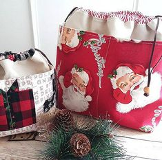It's snowing! Hallmark Christmas movies are playing and I finished another large Check the shop if you need a cute… Sewing Hacks, Sewing Crafts, Sewing Tips, Sewing Ideas, Rag Quilt, Quilts, History Of Quilting, Christmas Bags, Christmas Ideas